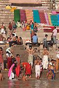 The bathing ghats on the holy river Ganges at Varanasi, Uttar Pradesh, India