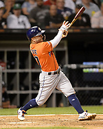 CHICAGO - AUGUST 13:  Jose Altuve #27 of the Houston Astros bats during the second game of a double header against the Chicago White Sox on August 13, 2019 at Guaranteed Rate Field in Chicago, Illinois.  (Photo by Ron Vesely/MLB Photos via Getty Images)  *** Local Caption *** Jose Altuve