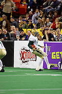 4/12/2007 - Dustin Almond of the Frisco Thunder runs the ball on a keeper play for a couple yards in the first professional football game in the State of Alaska against the home team Alaska Wild.  The Thunder scored 46 against the Wild 33 points in this landmark game.