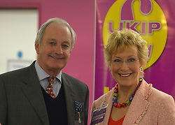 © Licensed to London News Pictures. 23/03/2013. Exeter, UK . Former Conservative MP Neil Hamilton and his wife Christine. The UK Independence Party (UKIP) 2013 Spring Conference is held at the Great Hall, Exeter University today, Saturday 23rd March 2013. Support for the party is rising after success in the recent Eastleigh by-election, where UKIP came second behind the Liberal Democrats. Photo credit : Stephen Simpson/LNP