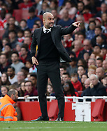 Manchester City's Pep Guardiola appeals for a handball during the Premier League match at the Emirates Stadium, London. Picture date: April 2nd, 2017. Pic credit should read: David Klein/Sportimage