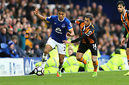 Dominic Calvert-Lewin of Everton looks to get away from Omar Elabdellaoui of Hull City. Premier league match, Everton v Hull city at Goodison Park in Liverpool, Merseyside on Saturday 18th March 2017.<br /> pic by Chris Stading, Andrew Orchard sports photography.