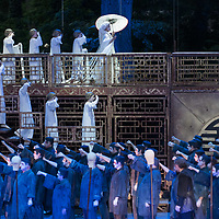 Romanian soprano Cristina Pasaroiu (not in picture) and Argentine opera legend José Cura (not in picture) in the lead and title roles perform during the dress rehearsal of Giacomo Puccini: Turandot at the Margaret Island Open-Air Stage in Budapest, Hungary on June 5, 2019. ATTILA VOLGYI