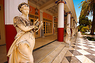 The Neo Classical Pompeian style Achilleion  [ Achilles, ???????? ]  Palace [ 1890 built by Elizabeth [ Sissi ] Emperess of Austria .<br /> <br /> If you prefer to buy from our ALAMY PHOTO LIBRARY  Collection visit : https://www.alamy.com/portfolio/paul-williams-funkystock/corfugreece.html <br /> <br /> Visit our GREECE PHOTO COLLECTIONS for more photos to download or buy as wall art prints https://funkystock.photoshelter.com/gallery-collection/Pictures-Images-of-Greece-Photos-of-Greek-Historic-Landmark-Sites/C0000w6e8OkknEb8
