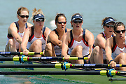 Munich, GERMANY,   Friday Heats, GBR W8+ Bow Olivia WHITLAM, Emily TAYLOR, Jess EDDIE, Louisa REEVE, Natasha PAGE, Annabel VERNON,   2012 World Cup III on the Munich Olympic Rowing Course,  Friday   15/06/2012. [Mandatory Credit Peter Spurrier/ Intersport Images]..