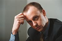 18 JAN 2001, BERLIN/GERMANY:<br /> Friedrich Merz, CDU, CDU/CSU Fraktionsvorsitzender, waehrend einem Interview, in seinem Buero, Deutscher Bundestag, Reichstagsgebaeude<br /> IMAGE: 20010118-01/02-31