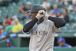 May 23, 2018 - Arlington, TX, U.S. - ARLINGTON, TX - MAY 23: New York Yankees shortstop Didi Gregorius (18) stands at the plate during the game between the New York Yankees and the Texas Rangers on May 23, 2018 at Globe Life Park in Arlington, TX. (Photo by George Walker/Icon Sportswire) (Credit Image: © George Walker/Icon SMI via ZUMA Press)