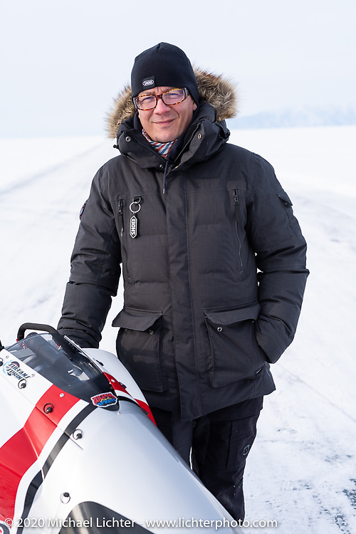 Pilot Sebastien Lorentz of Lucky Cats Garage in Chartres, France with Belgian custom bike builder Brice Hennebert's 2018 Indian Scout Bobber he raced at the Baikal Mile Ice Speed Festival. Maksimiha, Siberia, Russia. Wednesday, February 26, 2020. Photography ©2020 Michael Lichter.