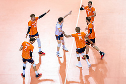 Bennie Tuinstra of Netherlands, Wessel Keemink of Netherlands, Just Dronkers of Netherlands, Gijs Jorna of Netherlands, Michael Parkinson of Netherlands, Nimir Abdelaziz of Netherlands celebrate during the CEV Eurovolley 2021 Qualifiers between Sweden and Netherlands at Topsporthall Omnisport on May 14, 2021 in Apeldoorn, Netherlands