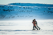 Cross-country skiing on the Hudson bay and on the river near Inukjuak.