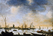View of a River'. Oil. Jean van Goyen (1596-1656) Dutch painter. Sailing and rowing boats on a wide river, town in background. Transport Trade Water