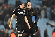 Leeds United midfielder Conor Shaughnessy (35) is consoled at the full time whistle during the EFL Sky Bet Championship match between Aston Villa and Leeds United at Villa Park, Birmingham, England on 13 April 2018. Picture by Alan Franklin.