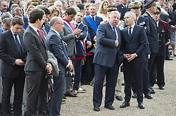 French National Assembly speaker Francois de Rugy and French Senate speaker Gerard Larcher attend a ceremony commemorating General Charles De Gaulle's June 1940 appeal for French resistance against Nazi Germany, at the Mont Valerien National Memorial in Suresnes on the outskirts of Paris on June 18, 2018. Photo by Eliot Blondet/ABACAPRESS.COM