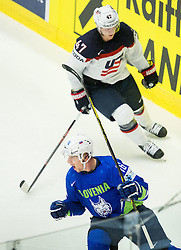 Ales Music of Slovenia celebrates after scoring first goal for Slovenia during Ice Hockey match between Slovenia and USA at Day 10 in Group B of 2015 IIHF World Championship, on May 10, 2015 in CEZ Arena, Ostrava, Czech Republic. Photo by Vid Ponikvar / Sportida