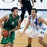 Panathinaikos's Patrick CALATHES (L) during their Two Nations Cup basketball match Fenerbahce Ulker between Panathinaikos at Abdi Ipekci Arena in Istanbul Turkey on Sunday 02 October 2011. Photo by TURKPIX