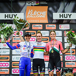 LUDWIG Cecilie Uttrup ( DEN ) - FDJ NOUVELLE - AQUITAINE FUTUROSCOPE ( FDJ ) - FRA - Second Place – VAN DER BREGGEN Anna ( NED ) – Boels - Dolmans Cycling Team ( DLT ) - NED – Winner - First Place - VOLLERING Demi ( NED ) – PARKHOTEL VALKENBURG ( PHV ) - NED – Third Place - Award Ceremony – Medal Ceremony – Podium - Querformat - quer - horizontal - Landscape - Event/Veranstaltung: Flèche Wallonne - Category/Kategorie: Cycling - Road Cycling - Elite Women - Elite Men - Location/Ort: Europe – Belgium - Wallonie - Huy - Start & Finish: Huy - Discipline: Road Cycling - Distance: 202 km - Mens Race - 124 km - Womens Race - Date/Datum: 30.09.2020 – Wednesday - Photographer: © Arne Mill - frontalvision.com30-09-2020: wielrennen: Fleche Walonne; Huy