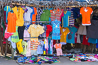 Colorful clothing for sale at an informal street market, Limpopo floodplain, Maputo Province, Mozambique