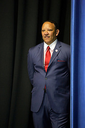 27 August 2015. Andrew P. Sanchez & Copelin-Byrd Multi Service Center, Lower 9th Ward, New orleans, Louisiana.<br /> Marc Morial, president of the National Urban League and former Mayor of New Orleans prepares to speak ahead of President Barack Obama. <br /> Photo credit©; Charlie Varley/varleypix.com.