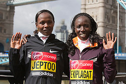 © Licensed to London News Pictures. 18/04/2013. London, England. Pictured: Kenyan Runners Priscah Jeptoo and Edna Kiplagat. Virgin London Marathon - Photocall with International Women Runners Athletes Tiki Gelana (ETH), Edna Kiplagat (KEN), Priscah Jeptoo (KEN) and Yoko Shibui (JPN) at Tower Bridge ahead of Sunday's run, London. Photo credit: Bettina Strenske/LNP