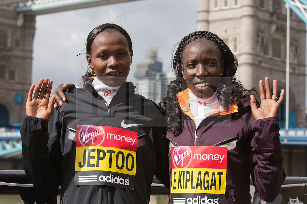 © Licensed to London News Pictures. 18/04/2013. London, England. Pictured: Kenyan Runners Priscah Jeptoo and Edna Kiplagat. Virgin London Marathon - Photocall with International Women Runners Athletes Tiki Gelana (ETH), Edna Kiplagat (KEN), Priscah Jeptoo (KEN) and Yoko Shibui (JPN) at Tower Bridge ahead of Sunday's run, London. Photo credit: Bettina Strenske/LNP