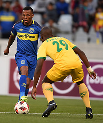 Cape Town-180818 Cape Town City Bradley Ralani challenged  by Nkosinathi Sibisi of Golden Arrows in a PSL match at Cape Town Stadium .photograph:Phando Jikelo/African News Agency/ANA