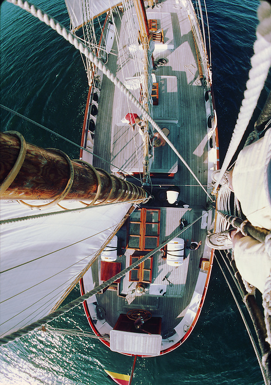 View from above on the Anne Von Hamburg during the 1982 Americas Cup.