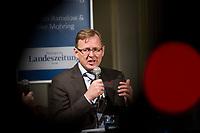 DEU, Deutschland, Germany, Weimar, 03.12.2014:<br /> Der Fraktionsvorsitzende der Partei DIE LINKE in Thueringen, Bodo Ramelow, beim Weimar-Dialog in der Jakobskirche.