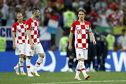 (l-r) Domagoj Vida of Croatia, Marcelo Brozovic of Croatia, Luka Modric of Croatia during the 2018 FIFA World Cup Russia Final match between France and Croatia at the Luzhniki Stadium on July 15, 2018 in Moscow, Russia