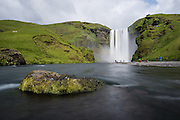 Skogafoss is a waterfall situated on the Skógá River in the south of Iceland at the cliffs of the former coastline.