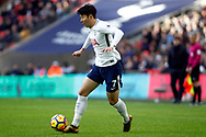 Son Heung-min of Tottenham Hotspur in action. Premier league match, Tottenham Hotspur v Southampton at Wembley Stadium in London on Boxing Day Tuesday 26th December 2017.<br /> pic by Steffan Bowen, Andrew Orchard sports photography.