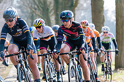 Tiffany Cromwell on the Dalakersweg cobbles - Ronde van Drenthe 2016, a 138km road race starting and finishing in Hoogeveen, on March 12, 2016 in Drenthe, Netherlands.