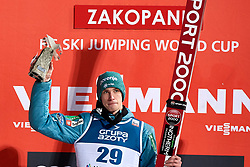Poland, Zakopane - 2018 January 28: Anze Semenic from Slovenia celebrates during awarding ceremony his victory in 18th World Cup Competition Men's HS140 Large Hill Individual during FIS Ski Jumping World Cup Zakopane 2017/2018 - Day 3 at Wielka Krokiew jumping hill on January 28, 2018 in Zakopane, Poland.<br /> <br /> Mandatory credit:<br /> Photo by © Adam Nurkiewicz<br /> <br /> Adam Nurkiewicz declares that he has no rights to the image of people at the photographs of his authorship.<br /> <br /> Picture also available in RAW (NEF) or TIFF format on special request.<br /> <br /> Any editorial, commercial or promotional use requires written permission from the author of image.