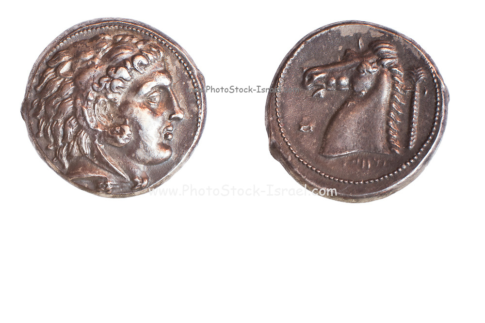 Ancient Greek coin Carthage 325-300 BCE Silver tetradrachm 17.2 gr. Left Head of Heracles right head and neck of horse