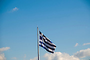 Greek Flag on blue sky