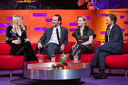 (left to right) Sophie Turner, Michael Fassbender, Jessica Chastain and James McAvoy during the filming of the Graham Norton Show at BBC Studioworks 6, Television Centre, Wood Lane, London, to be aired on BBC One on Friday evening.
