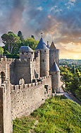 Carcasonne medieval historic fortifications and battlement walls, Carcasonne France