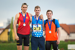 Juš Smole, Axel Luxa and Andraž Marolt at medal cermeony during day 2 of Slovenian Athletics Cup 2019, on June 16, 2019 in Celje, Slovenia. Photo by Peter Kastelic / Sportida