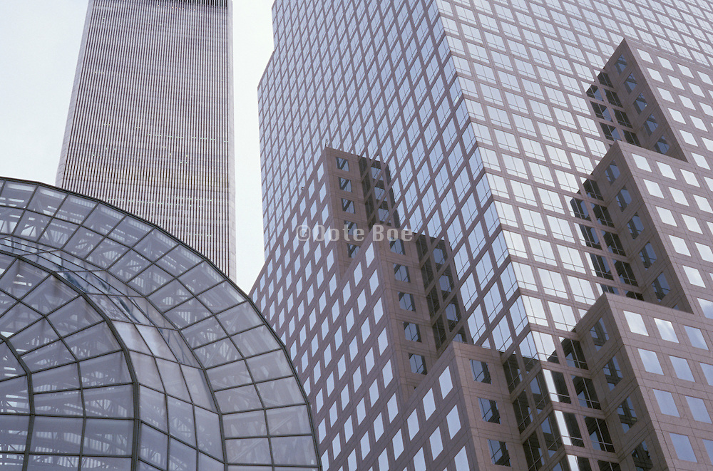 upward view of office buildings and atrium