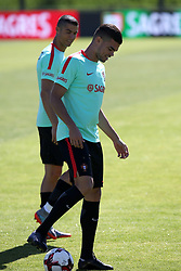 June 7, 2017 - Lisbon, Portugal - Portugal's forward Cristiano Ronaldo (L ) and Portugal's defender Pepe during a training session at ''Cidade do Futebol'' (Football City) training camp in Oeiras, outskirts of Lisbon on June 7, 2017, ahead of the FIFA World Cup Russia 2018 qualifier match Latvia vs Portugal. Photo: Pedro Fiuza. (Credit Image: © Pedro Fiuza via ZUMA Wire)