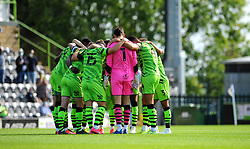Forest Green Rovers players huddle together prior to kick-off- Mandatory by-line: Nizaam Jones/JMP - 19/09/2020 - FOOTBALL - New Lawn Stadium - Nailsworth, England - Forest Green Rovers v Bradford City - Sky Bet League Two