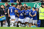 Idrissa Gueye of Everton (c) celebrates with his teammates after scoring his teams 1st goal. Premier league match, Everton v Sunderland at Goodison Park in Liverpool, Merseyside on Saturday 25th February 2017.<br /> pic by Chris Stading, Andrew Orchard sports photography.