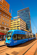 Modern tram in the Square of Ban Josip Jela?i?,  Zagreb, Croatia .<br /> <br /> Visit our CROATIA HISTORIC SITES PHOTO COLLECTIONS for more photos to download or buy as wall art prints https://funkystock.photoshelter.com/gallery-collection/Pictures-Images-of-Croatia-Photos-of-Croatian-Historic-Landmark-Sites/C0000cY_V8uDo_ls