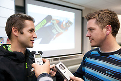 Austrian Ski Jumper Wolfgang Loitzl and journalist of Siol Sportal Jaka Lopatic at press conference when he signs a contract for new season 2010/2011 with ELAN on October 26, 2010 in Elan factory, Begunje, Slovenia. (Photo by Vid Ponikvar / Sportida)