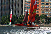 SailGP Team Japan and team China in race three. Race Day 1 Event 3 Season 1 SailGP event in New York City, New York, United States. 21 June 2019. Photo: Chris Cameron for SailGP. Handout image supplied by SailGP