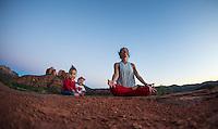 Danielle Fazio with Maya Raven & Matteo Hawk Fazio at Cathedral Rock, Sedona - Arizona