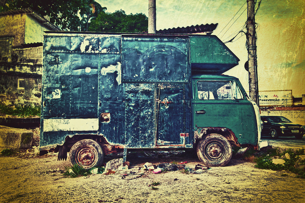 Fine art photography.<br /> <br /> Kombi is an old type of RV from Volkswagen. Although old there is still a lot circulation in Brazil's traffic