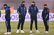 Leeds United players including Leeds United defender Pascal Struijk (21) arrives at the ground  during the The FA Cup match between Crawley Town and Leeds United at The People's Pension Stadium, Crawley, England on 10 January 2021.