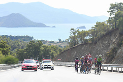 October 11, 2018 - Marmaris, Turkey - A seven men breakaway (Kenneth Van Rooy, Benat Txoperena Matxikote, Aldemar Reyes Ortega, Feritcan Samli, Fernando Barcelo Aragon, Mads Schmidt Wurtz, Muhammed Atalay) during the third stage - the Troy Stage 137.2km Fethiye - Marmaris, of the 54th Presidential Cycling Tour of Turkey 2018. .On Thursday, October 11, 2018, in Marmaris, Turkey. (Credit Image: © Artur Widak/NurPhoto via ZUMA Press)