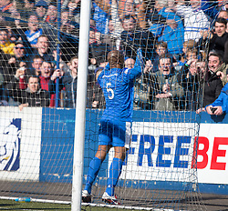 Montrose Marvin Andrews cele scoring their second goal. <br /> Montrose 3 v 1 Brora Rangers, Scottish League Two play-off second leg, today at Links Park, Montrose.