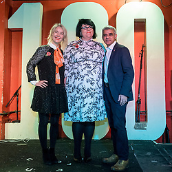 © Licensed to London News Pictures. 04/11/2016. London, UK.  (R) The Mayor of London, Sadiq Khan, announces that writer, DJ, performer and campaigner (C) Amy Lamé has been appointed as London's first Night Czar, seen with (L) Justine Simmons, Deputy Mayor for Culture and Creative Industries.  The announcement was made at the 100 Club, an iconic music venue in Soho.  The role will champion London's nightlife both in the UK and internationally and to create a vision for London as 24-hour city.   Photo credit : Stephen Chung/LNP